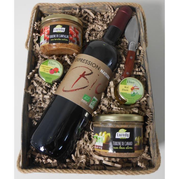 Coffret cadeaux Panier avec vins, terrines et accompagnement - Bio