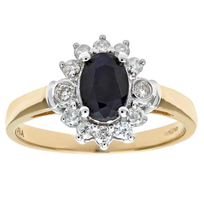 Revoni Bague Saphir et Diamant Or Jaune 375° Femme Poids du diamant : 0.28 ct - CD-PR02547YSA-R