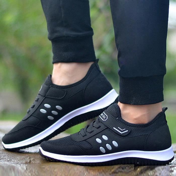 Femmes Outdoor Mesh Sport Solide Couleur Chaussures Sneakers Chaussures Montre Running Respirant Noir LJD81224899BK Noir