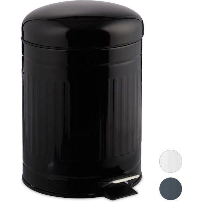 Relaxdays Poubelle à pédale 5 L inox seau intérieur anse couvercle salle de bain déchets - 4052025935993