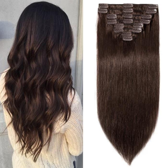 8 pcs Extensions a Clips Cheveux Naturels Epaisseur Moyenne Remy Human Hair - Brun(10 pouces-25cm)