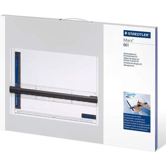 Staedtler Planche à dessin A3 en plastique anti-choc, Indéformable et lavable, Avec règle parallèle et fixe-support