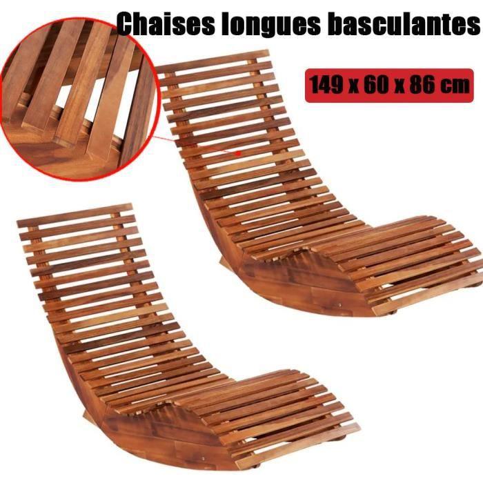 Chaise longue à bascule en bois transat ergonomique de jardin bain de soleil bois d'acacia HB015