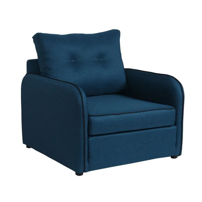 vinyl fauteuil convertible d plimousse en tissu bleu achat vente fauteuil black friday le. Black Bedroom Furniture Sets. Home Design Ideas