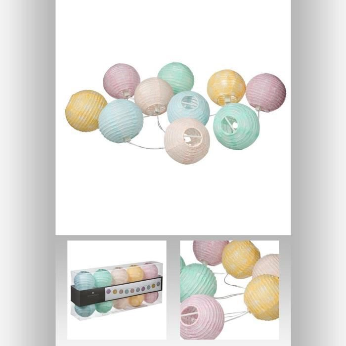 guirlande lumineuse 10 boules led pastel multicouleur achat vente guirlande lumineuse 10. Black Bedroom Furniture Sets. Home Design Ideas