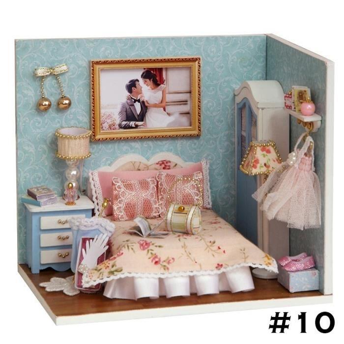 10# JOUET DIY pour fille enfant modèle cabine miniature chambre simulaire  Salon maison romantique MARIAGE cadeau fille Noël anniv…