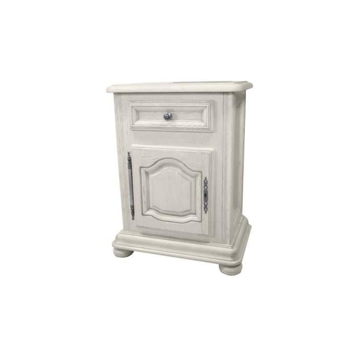 Table de chevet villandry bois massif ch ne blanc achat for Table de chevet bois massif