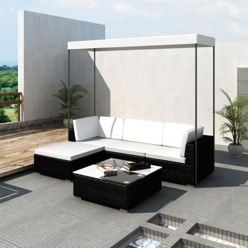 canap de jardin en r sine tress e noir avec toit achat. Black Bedroom Furniture Sets. Home Design Ideas