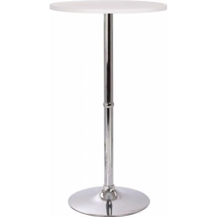 Table haute bar bistrot mdf diam tre 60 cm blanche 2009008 for Table haute bar blanche