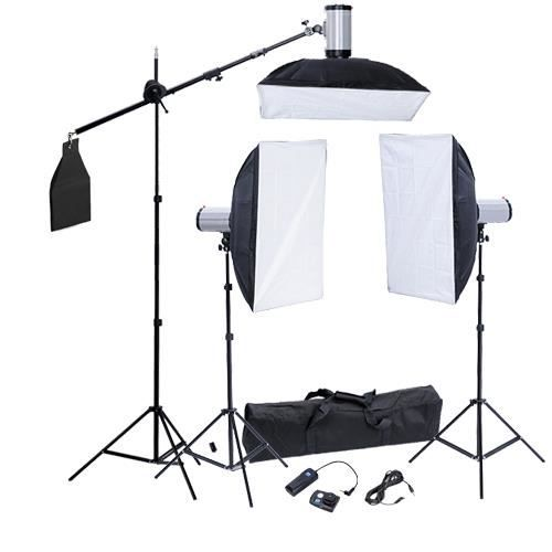 eclairage studio 3 supports 3flash 3 softboxes achat. Black Bedroom Furniture Sets. Home Design Ideas
