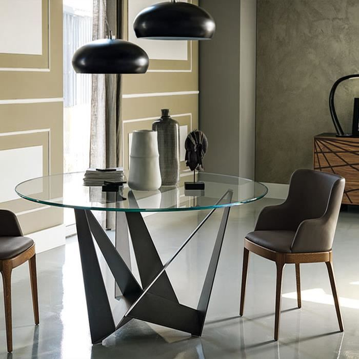 table manger ronde design en verre boavista achat vente table manger seule table. Black Bedroom Furniture Sets. Home Design Ideas