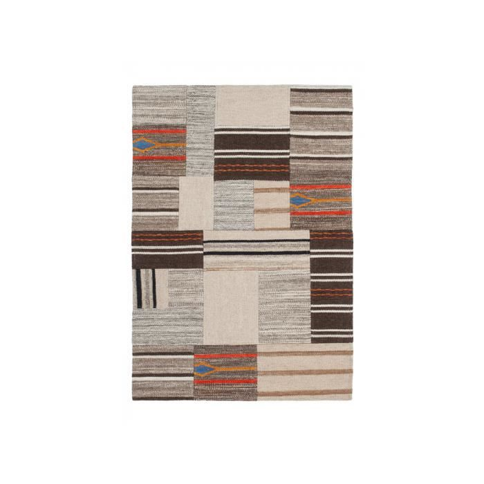 Tapis en laine beige marron et orange 80 x 150cm ...