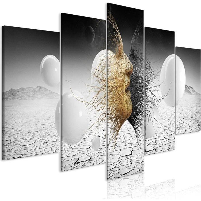 Impression sur Toile intiss/ée Abstrait 110x80 cm Tableau Mural Image sur Toile Photo Images Motif Moderne D/écoration tendu sur Chassis Diamants decomonkey 5 Piece
