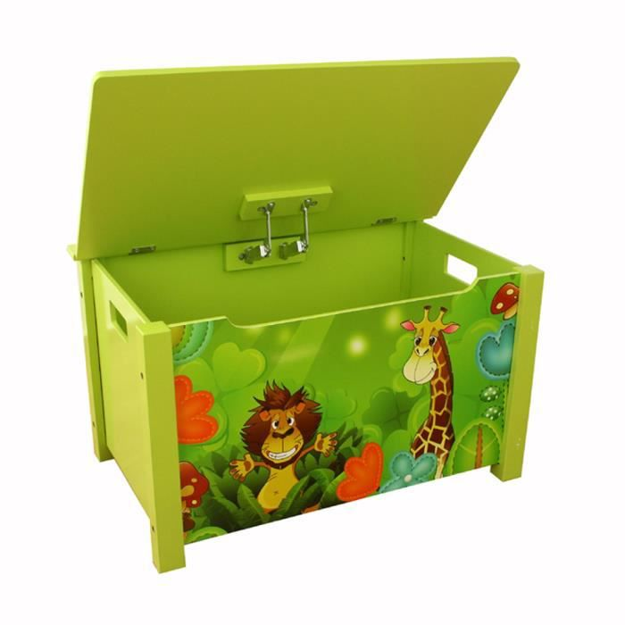 coffre jouets en bois motif de jungle vert achat vente coffre jouets motif de ju. Black Bedroom Furniture Sets. Home Design Ideas