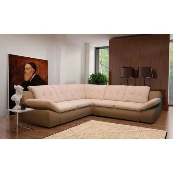 canap angle convertible massimo beige achat vente canap sofa divan polyur thane. Black Bedroom Furniture Sets. Home Design Ideas