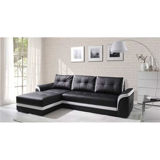 canap d 39 angle convertible dumno noir et blanc angle gauche achat vente canap sofa. Black Bedroom Furniture Sets. Home Design Ideas
