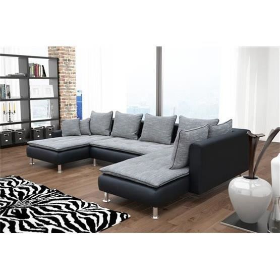 canap d 39 angle en u nina gris noir angle droit achat vente canap sofa divan cdiscount. Black Bedroom Furniture Sets. Home Design Ideas