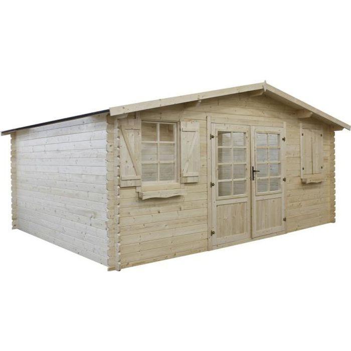 Abri jardin bois traité autoclave - 22.80 m² - 5.26 x 4.32 x ...
