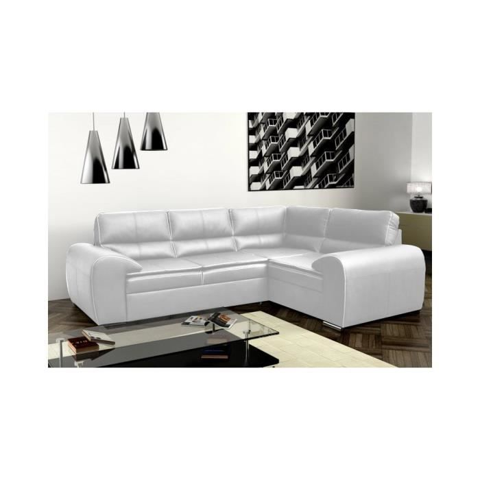 justhome omega canap d 39 angle en cuir cologique blanc lxp 270x210 cm achat vente canap. Black Bedroom Furniture Sets. Home Design Ideas