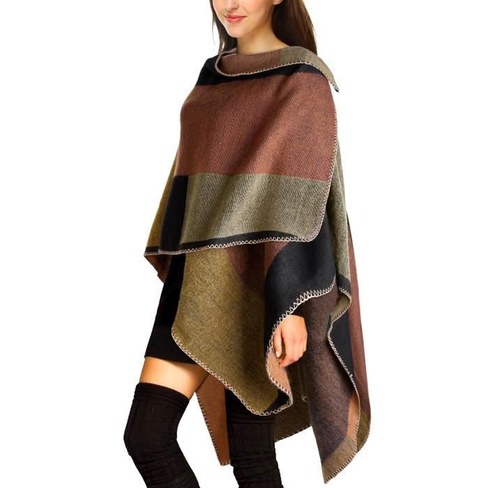 3e003f194dac Imperméable - Trench Cape Femme Tricot Carreaux Tartan Style Poncho .