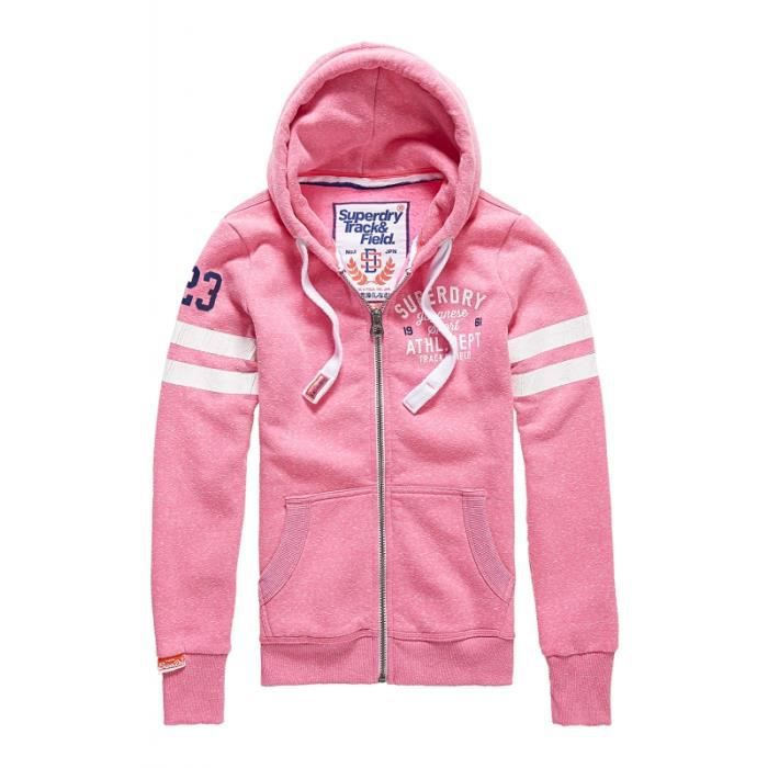 Sweat Superdry Track&Field Lite Ziphood Pink Sorbt Rose Rose