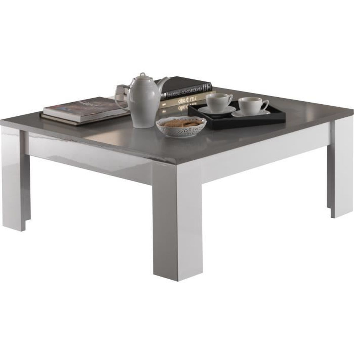 Table basse carr e coloris blanc et gris laqu brillant - Table basse carree blanc laque ...