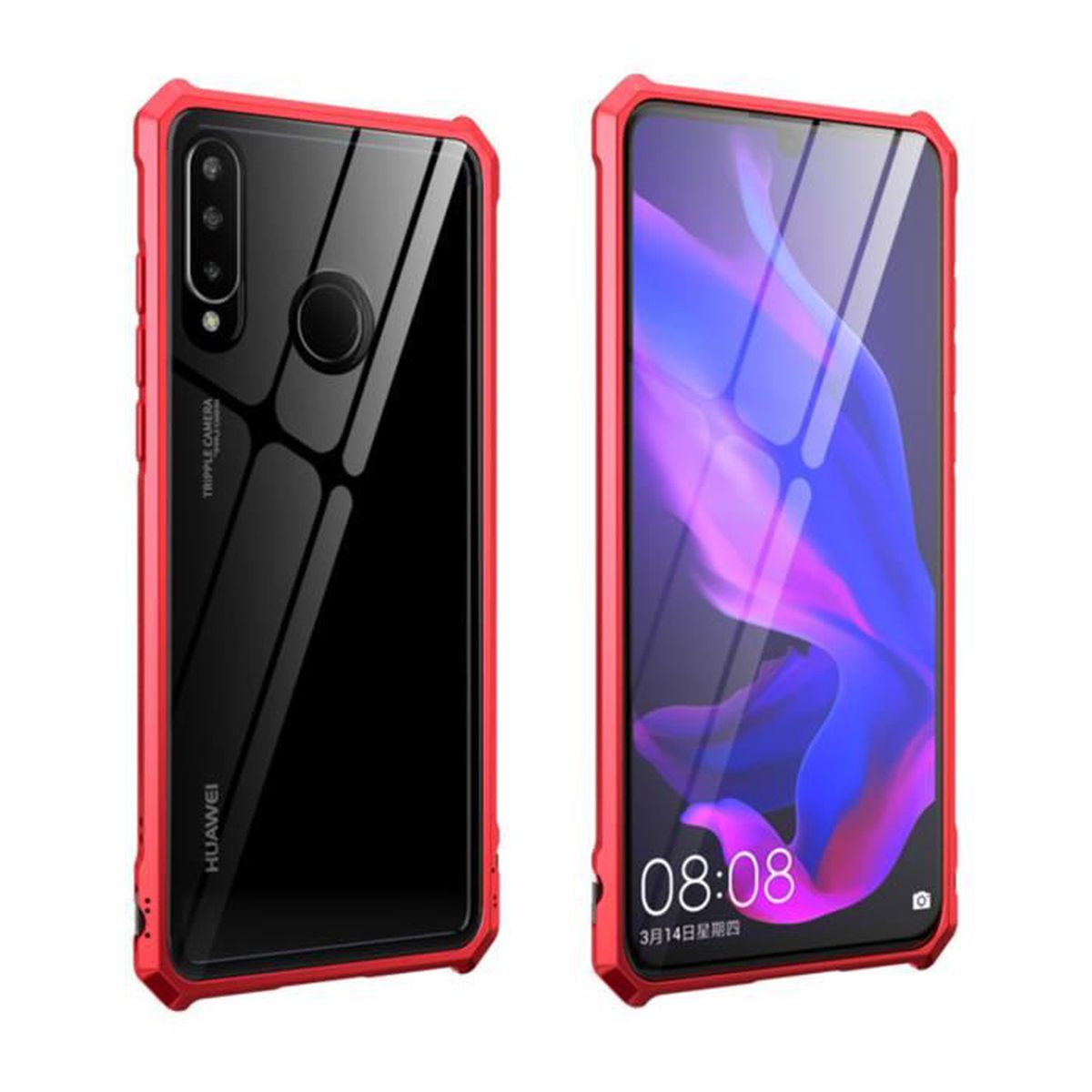 Pour Huawei P30 Lite coque en verre trempé transparent arrière ...