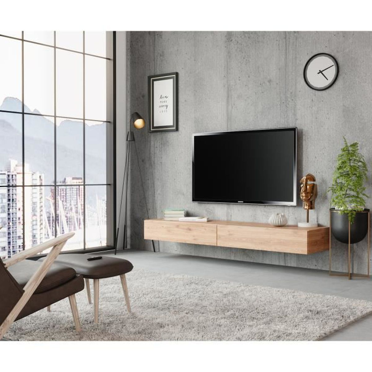 Panneau Mural Derriere Tv meuble tv sierra 140 cm wotan - achat / vente meuble tv