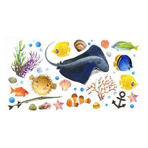 decalmile Stickers Muraux Animaux Mer Arctique Ours Polaire Manchot Autocollant Mural Chambre B/éb/é Enfants Decoration Murale