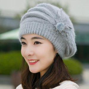 BONNET - CAGOULE Femmes Mode Fleur Crochet Knit Bonnet hiver chaud