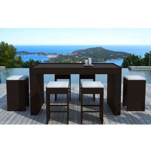 SALON DE JARDIN  Table-bar de jardin + 6 tabourets en résine tréssé