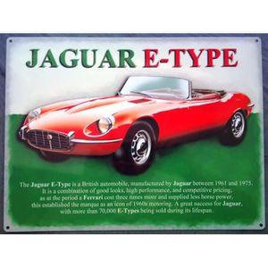 OBJET DÉCORATION MURALE plaque jaguar type E cabriolet rouge tole deco gar
