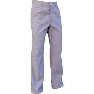 PANTALON PRO Pantalon de cuisine en coton pied de poule bleu et