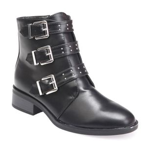 BOTTINE Bottines noires multi brides à clous et languette-