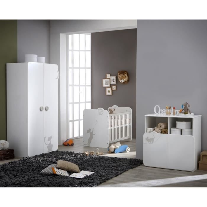 Kitty chambre compl te lit armoire commode blanc et for Chambre complete avec armoire