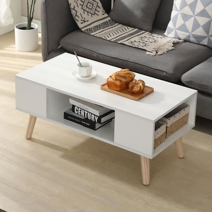 Mixmest® Table basse Style scandinave - bois - blanc!!!