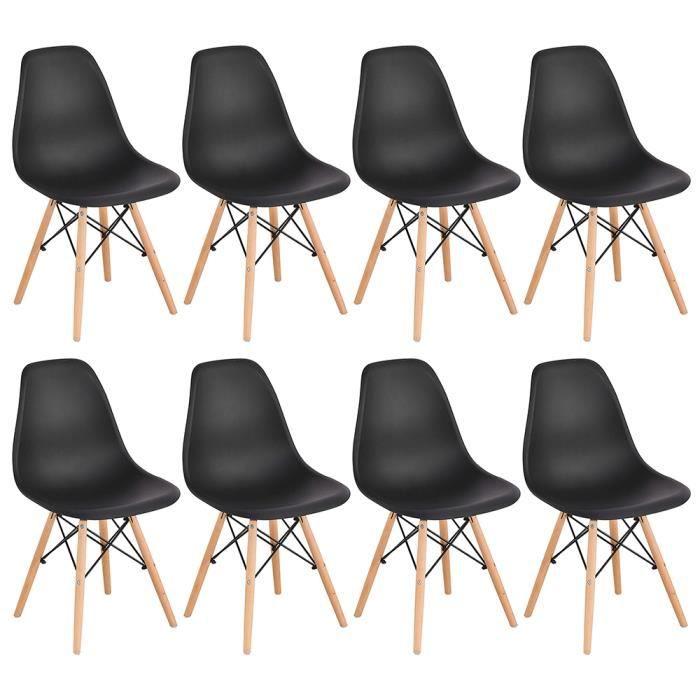 Chaises Scandinaves CASNELY Design Moderne, Bois & Métal, Lot de 8, Noir