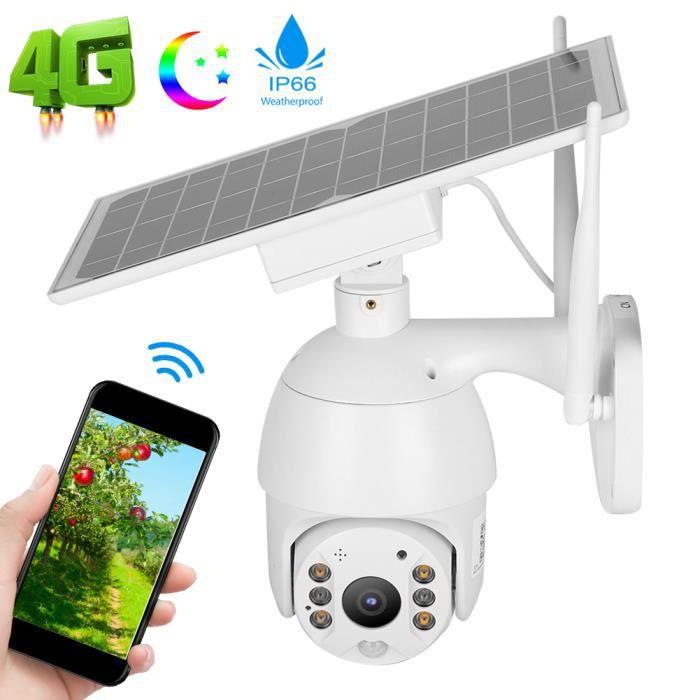 Caméra PTZ IP66 Énergie Solaire Intelligente Système de Surveillance PIR Alerte 4G Vision Nocturne(Bande de Fréquences Européenne )