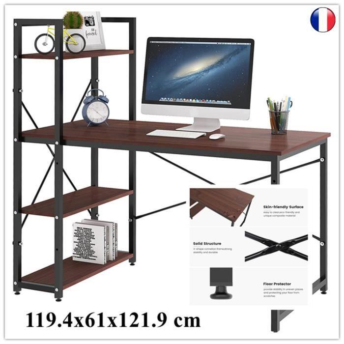 Dripex Table de bureau en bois et acier - à 4 niveaux - Noir et chêne clair - 119.4 x 61 x 121.9 cm