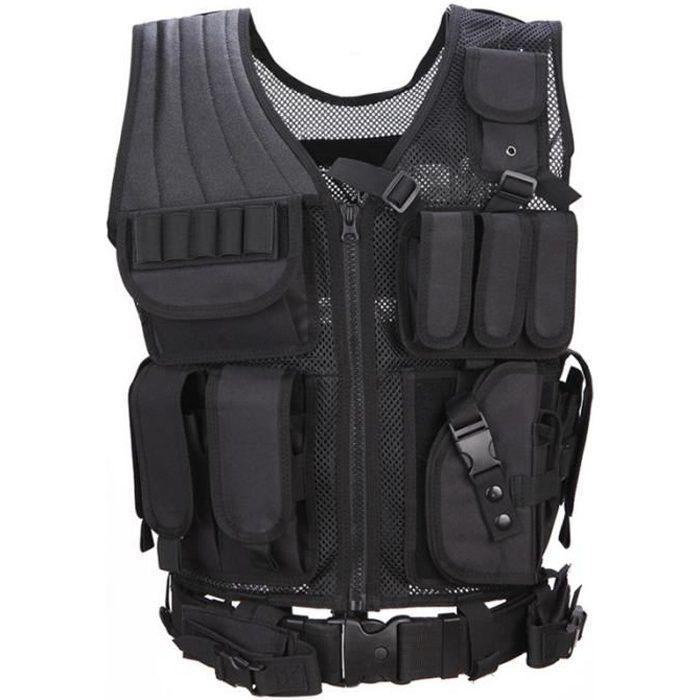 Veste Tactical Veste de Terrain Airsoft Combat de Paintball Attaque de Swat Militaire Tir à l'Armée Molle Police Vest Pistol Holster