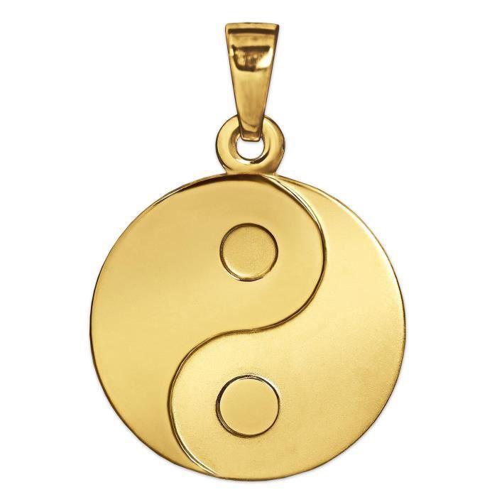 Pendentif yin yang Clever Schmuck en or 333 véritable, 8 carats, mat et brillant, diamètre 16mm