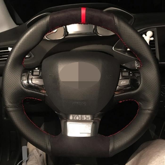 Housse de volant de voiture en cuir véritable noir cousu main pour Peugeot 308 2014 2015 2016 2017 Yellow Thread