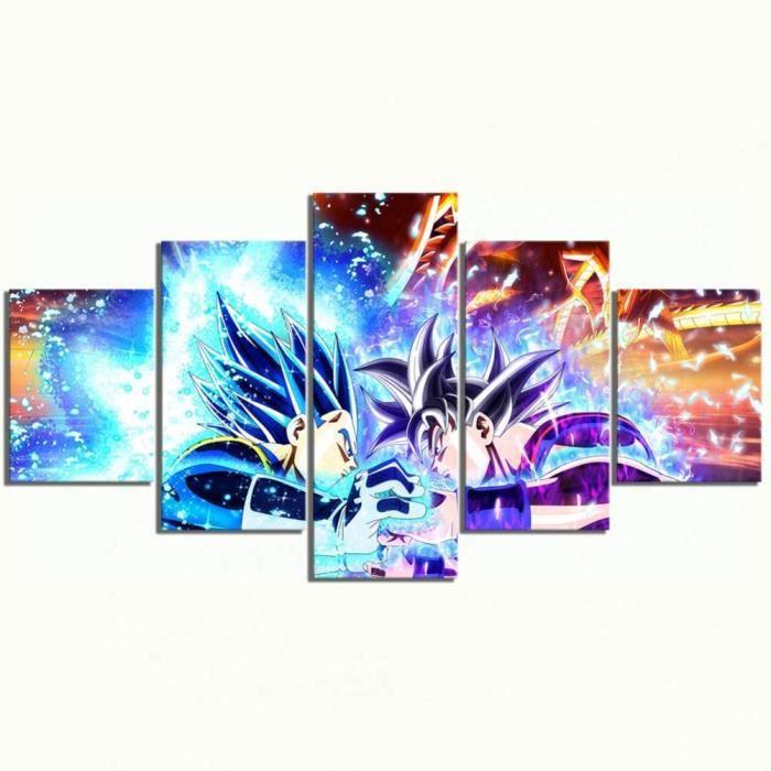 TABLEAU TOILE Zhcode Lot de 5 tableaux sur toile pour impression HD encadreacutee et modulaire dessin animeacute Dragon Ball Pos325
