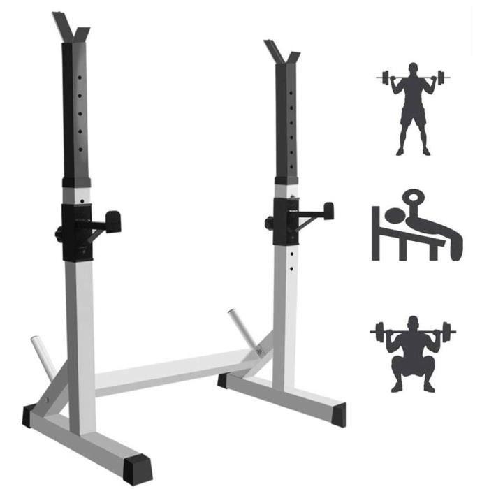 BANC DE MUSCULATION R&eacuteglable Squat Rack Barbell Support Multifonction Chandelles Musculation Max 300 Kg Cage De Squat Dom293