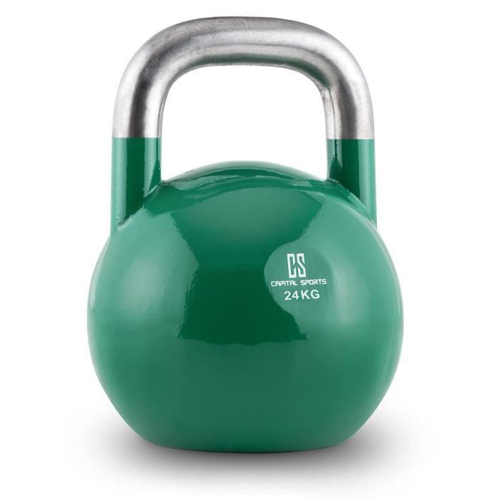 Capital Sports Compket 24 Kettlebell haltère poids acier 24kg -vert