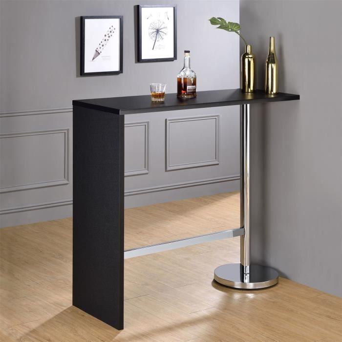 Table haute de bar RICARDO mange-debout comptoir piètement métal chromé, plateau en MDF décor noir mat