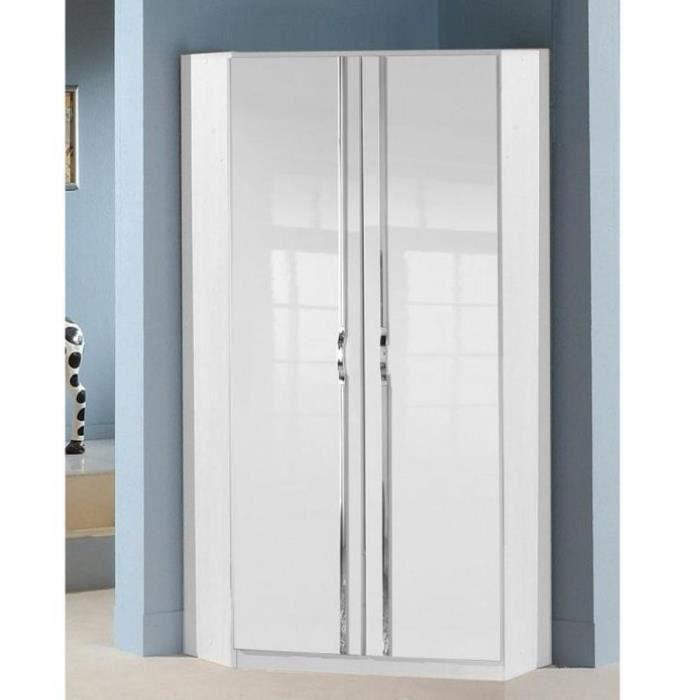 Armoire dressing d'angle KROOS 2 portes 95*95 laquée blanc brillant blanc Bois Inside75
