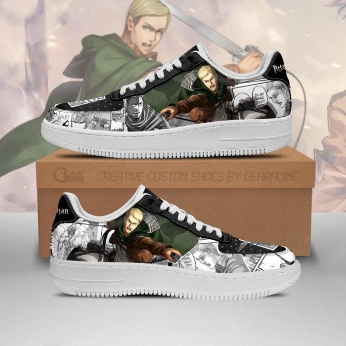 Baskets Anime AOT Scout Erwin Attack On Titan Mixed Manga Chaussures de course pour Homme Femme