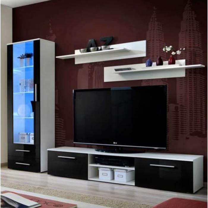 Meuble TV GALINO design, coloris noir et blanc brillant. Meuble moderne et tendance pour votre salon. 45 Noir