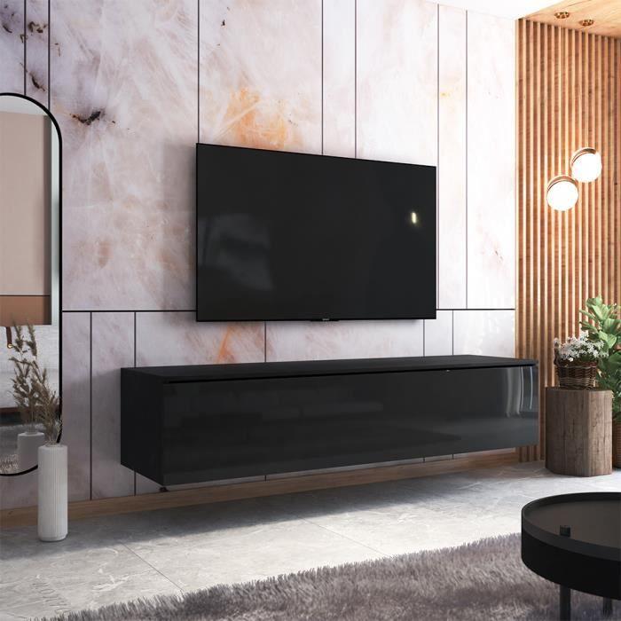 Meuble TV - SKYLARA - 180 cm - noir mat / noir brillant - style moderne